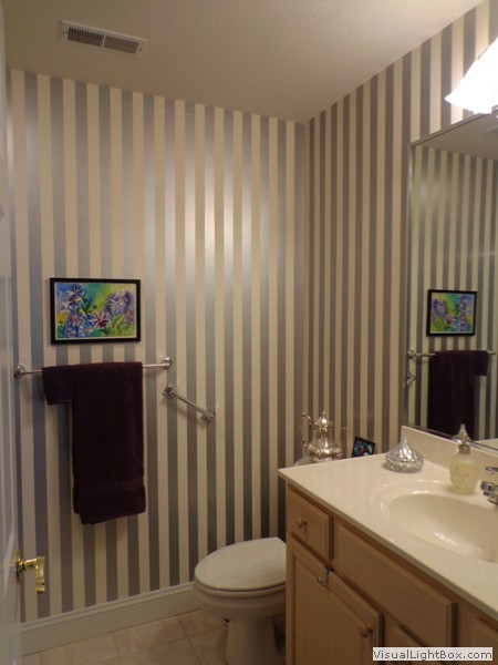 Bathroom wallpaper stripes home design